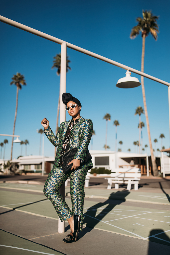 ASOS Coordinated Florals Pants Suit With Denim Turban Against Arizona Landscape