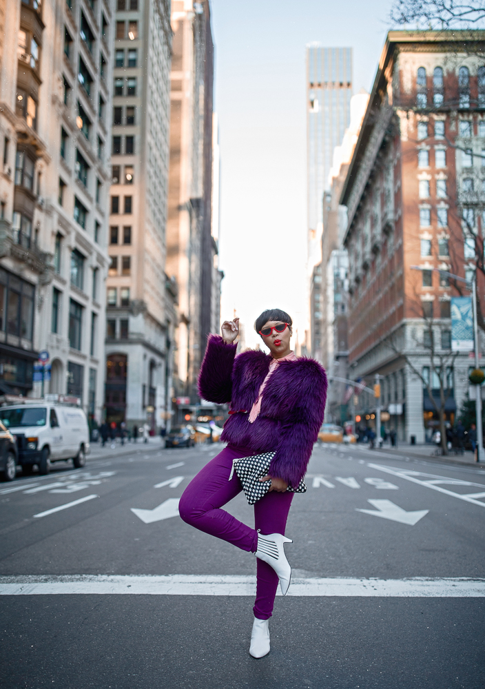 NYFW Monochromatic Look Featuring Purple Faux Fur Coat