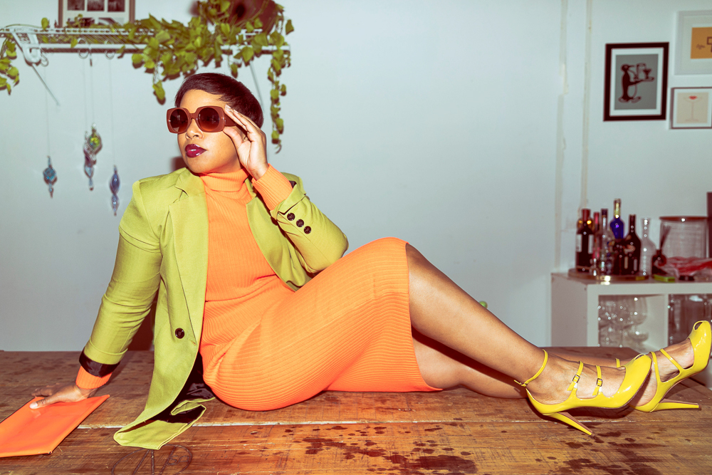 Orange Neon Dress with Green Jacket