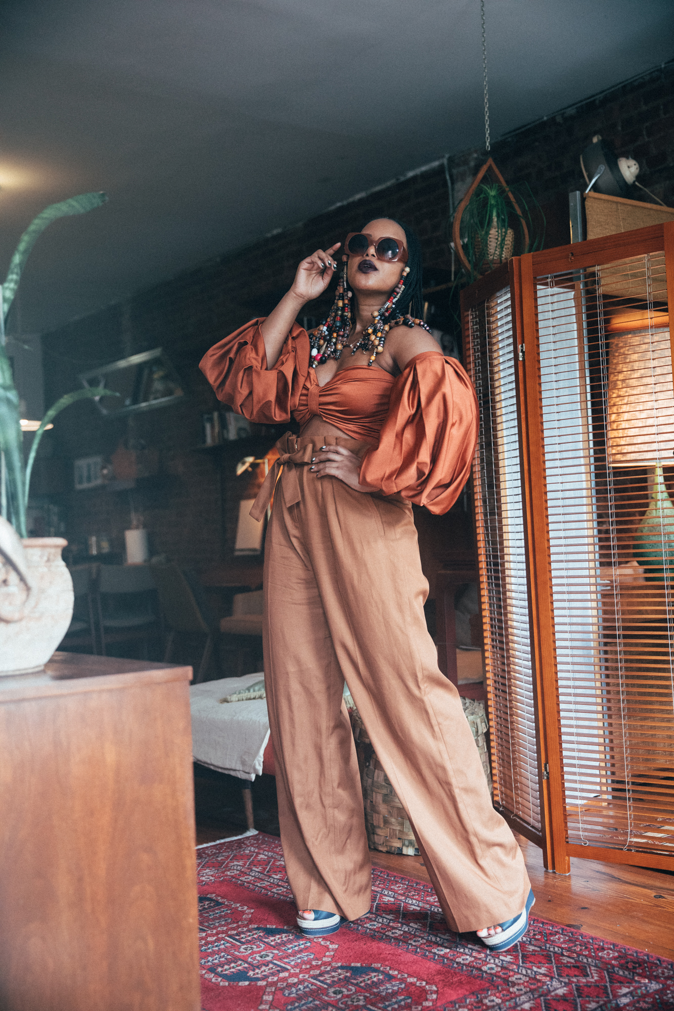 Fe Noel Rust Puff Sleeve Bodysuit and Sezane Rust Wide Leg Trousers